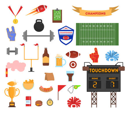 American football set. Collection of equipment. Ball, trophy cup and scoreboard. Sport competition concept. Isolated vector illustration in cartoon style