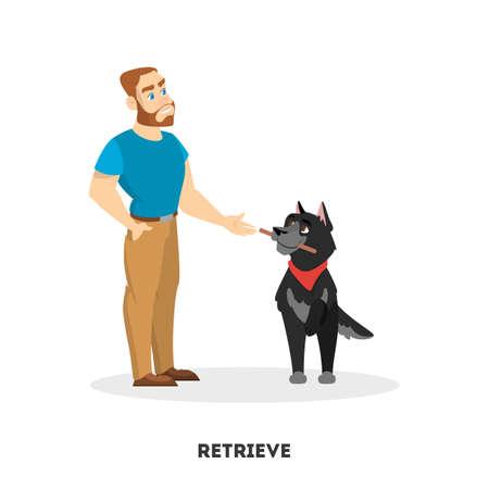 Man training his pet dog. Retrieve command