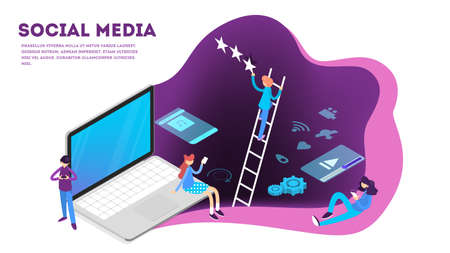Social media concept. Internet communication and global connection. People share content online. Isolated vector isometric illustration