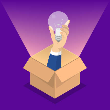 Think outside the box web banner. Idea of creative thinking and innovation. Brainstorm and creativity. Light bulb as metaphor of solution. Isolated vector isometric illustration