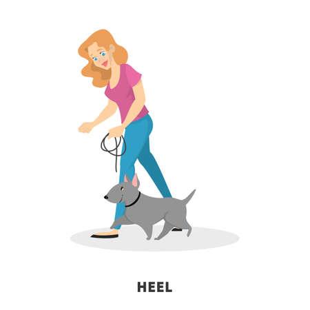 Woman training her pet dog. Heel command