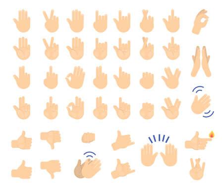 Insieme di gesto di mano. Raccolta di palma umana che mostra vari segni. Pollice in su, pugno e simbolo di pace. Illustrazione vettoriale isolato in stile cartone animato Vettoriali
