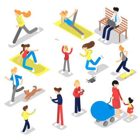 People in the public park doing different activity. Walking a dog, doing sport and resting. Summer activity. Vector isometric illustration