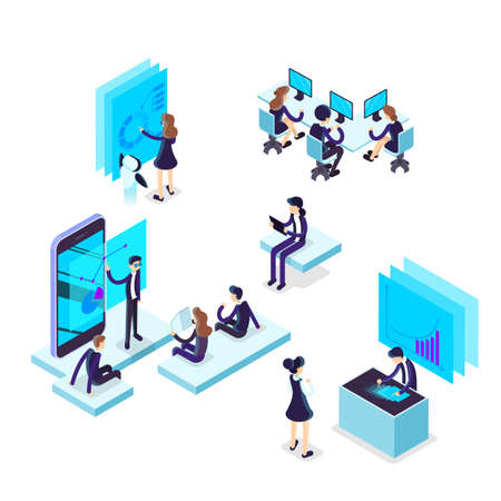 Working process concept. Business people work in team. Brainstorming team. Workers sitting at the desk. Isolated vector isometric illustration Ilustrace