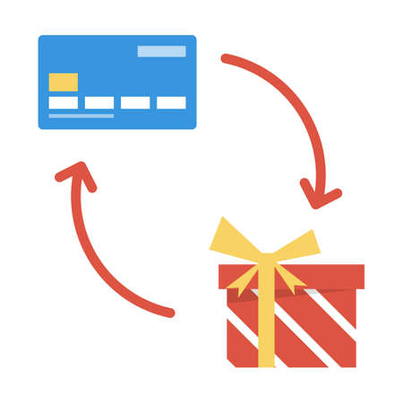 Credit card exchange to the gift box. Loyalty program and cashback concept. Electronic payment in the shop. Isolated vector illustration in cartoon style