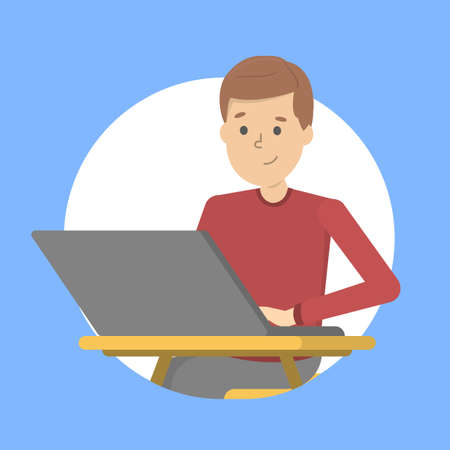 Man sitting at the desk and working on the laptop computer. Office character, employee or worker. Vector illustration in cartoon style Illustration
