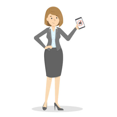 Woman holding mobile phone in hand. Silence symbol on the screen. Turn off sound on the device. Vector illustration in cartoon style