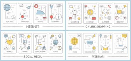 Internet and e-commerce web banner set. Online shopping, webinar and social media. Electronic money. Flat vector illustration 向量圖像