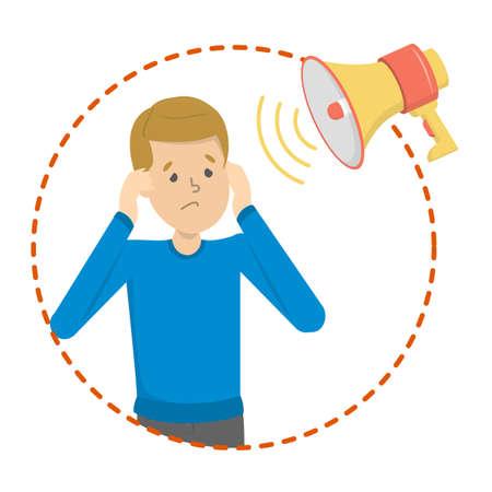Fonofobia come sintomo di emicrania. Stress da suoni rumorosi. Inquinamento acustico. Orecchie della copertura dell'uomo. Illustrazione vettoriale in stile cartone animato