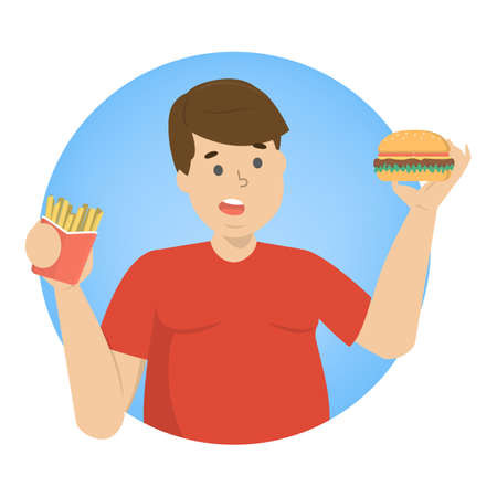 Fat man eating fast food. Unhealthy nutrition concept. Burger and french fries for dinner. Junk food. Isolated flat vector illustration