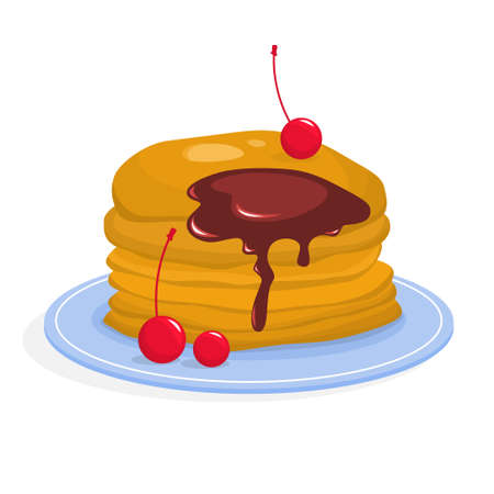 Tasty pancake for breakfast with berry and maple syrup. Homemade food delicious and hot. Isolated vector illustration Illustration