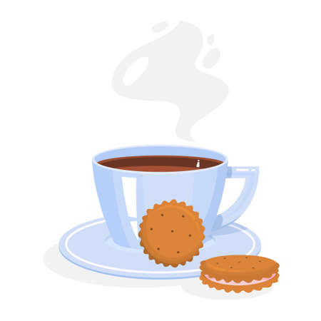 A cup of coffee or tea with tasty cookies. Hot drink with dessert. Isolated vector illustration in cartoon style Çizim