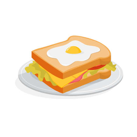 Big tasty sandwich with cheese and egg for breakfast. Fresh delicious snack. Isolated vector illustration in cartoon style Illustration