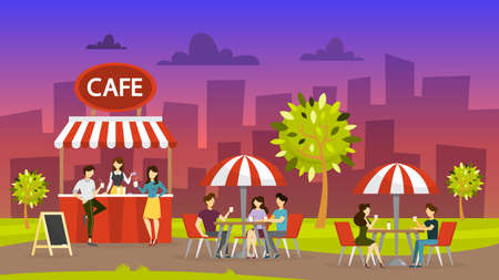Street cafe. People sit at the table and drink coffee. Outdoor cafeteria. Night city landscape on background. Cafe in the park. Vector illustration in cartoon style Çizim