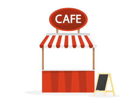 Street cafe counter. Cafe bar. Outdoor restaurant. Vector illustration in cartoon style Foto de archivo - 125326811