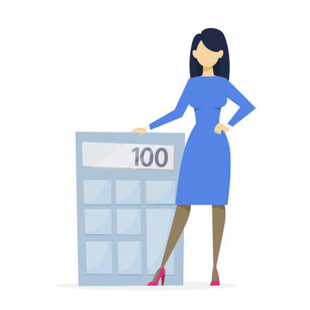 Business woman standing at big calculator. Idea of financial analysis and accounting. Data analytics. Vector illustration in cartoon style Illustration