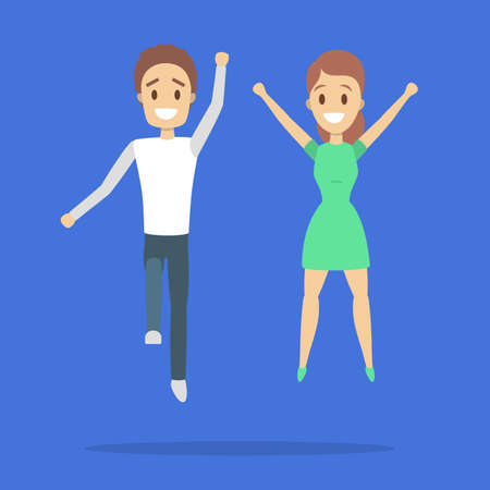 Couple of happy people jumping. Celebration and joy. Guy and girl full of energy jump in the air. Flat vector illustration