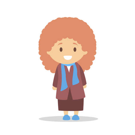 Cute little baby girl standing. Kid in a coat. Happy child. Adorabe infant. Flat vector illustration
