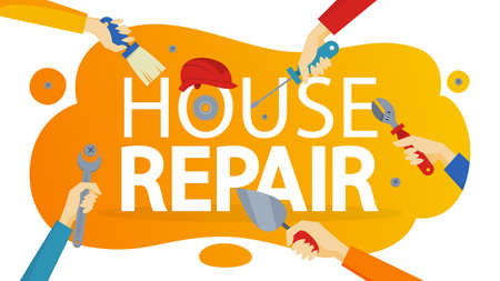 House repair concept banner. Equipment for repair. Wrench, brush and hammer. Handyman tools. Isolated vector illustration Illustration
