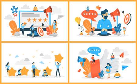 Rating web banner set. Idea of feedback