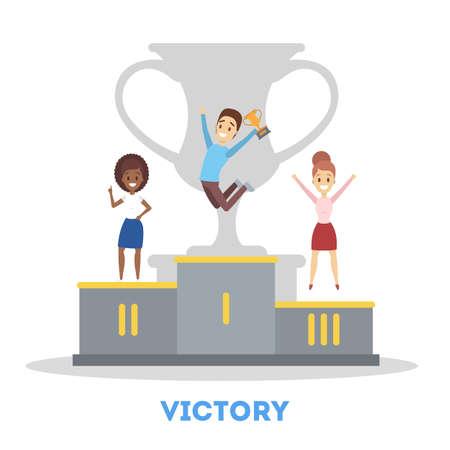 Mensen met trofee beker vieren succes. Idee van teamwerk Vector Illustratie