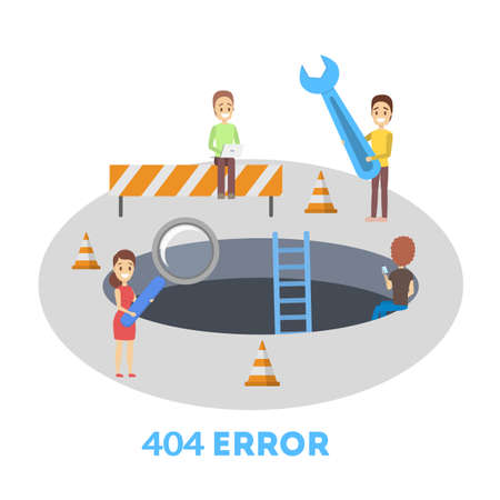 People try to fix broken website banner. 404 error page not found concept. Flat vector illustration of internet connection problem. Vector illustration in cartoon style