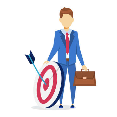 Businessman holding target and briefcase. Idea of achievement and goal. Successful man. Vector illustration in cartoon style 일러스트