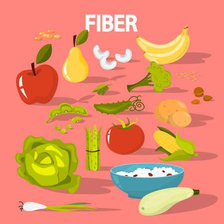 Juego de alimentos con fibra. Frijoles y brócoli, arroz