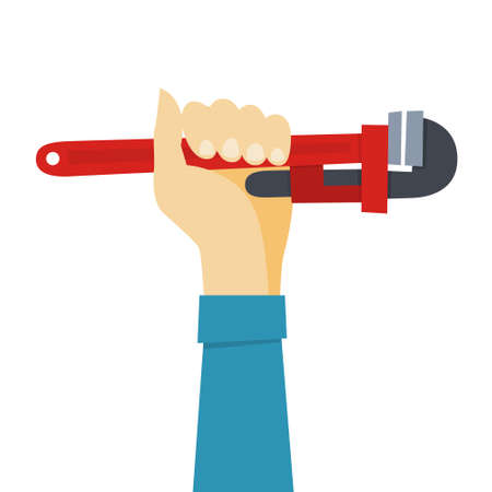 Hand hold red monkey wrench. Worker tool for repair. Professional equipment. Vector illustration in cartoon style Illustration