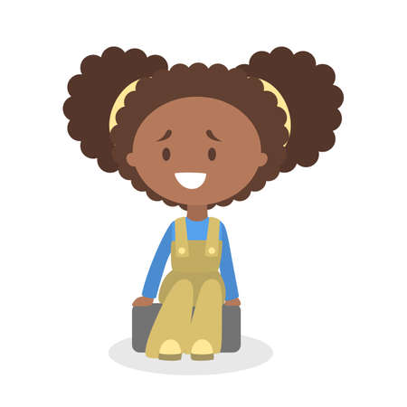 Cute little african american baby girl sitting. Kid in cute clothes. Happy child. Adorabe infant. Flat vector illustration