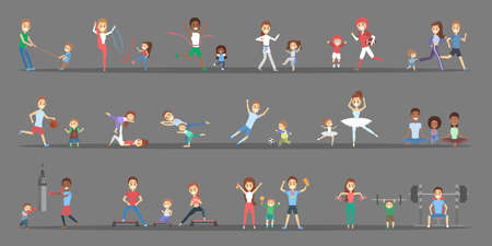 Set of sports people with their children. Parents doing different kind of sport - play basketball, boxing, running and winning the competition. Gymnastics and ballet. Flat vector illustration