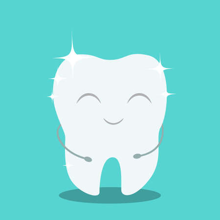 Happy white shiny tooth. Idea of dental care and oral hygiene. Healthy molar. Funny character. Isolated flat vector illustration