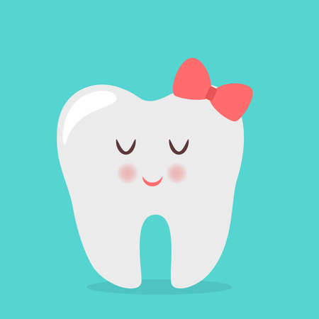 Happy white shiny female tooth. Idea of dental care and oral hygiene. Healthy molar. Funny character. Isolated flat vector illustration