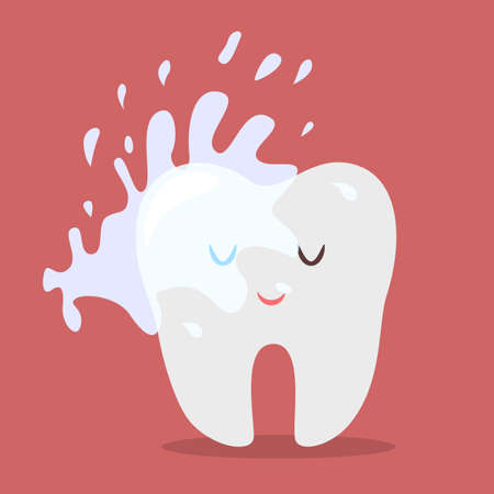 Water cleaning tooth. Idea of oral hygiene. Washing away toothpaste on a dental character. Brushing teeth concept. Isolated flat vector illustration
