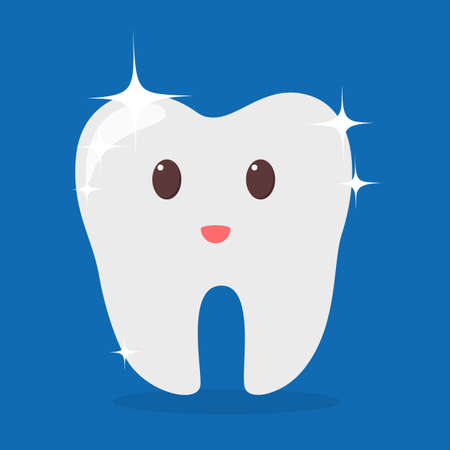 Happy white shiny tooth. Idea of dental care and oral hygiene. Healthy molar. Funny character. Isolated flat vector illustration Banco de Imagens - 116574141