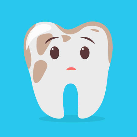 Sad tooth character with dirt. Idea of dental and oral care. Bad hygiene and pain in teeth. Isolated flat vector illustration Çizim