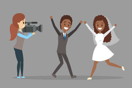 Beautiful woman and man couple making photoshoot. Shooting wedding on video camera. Isolated flat vector illustration