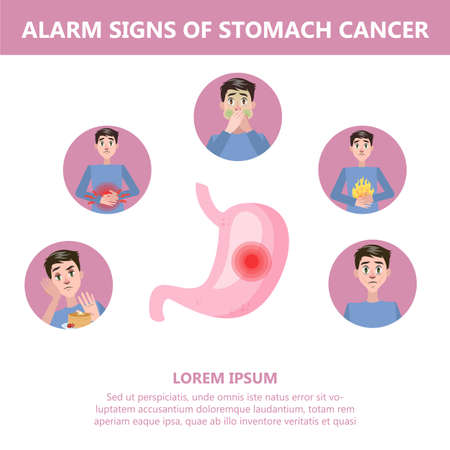 Stomach cancer signs and symptoms. Weightloss and appetite loss. Dangerous disease. Idea of medical treatment and healthcare. Isolated vector illustration in cartoon style