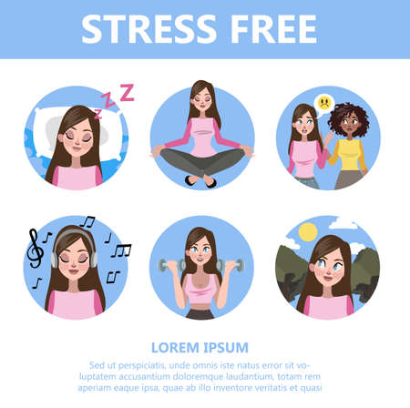 How to deal with stress guide. Depression reduce instruction. Making exercise and yoga, sleep and deep breath help to reduce stressful state. Isolated flat vector illustration 矢量图像