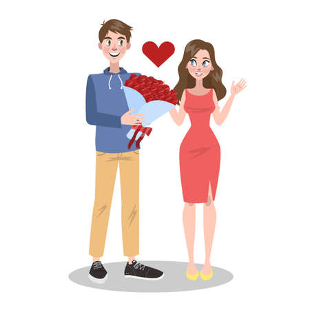 Happy couple in love. Young people on Valentine day. Lover celebrate romantic date with flower bouquet. Idea of relationship and love. Isolated vector illustration in cartoon style Reklamní fotografie - 125328545
