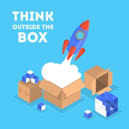 Think outside the box web banner. Idea of creative thinking and innovation. Brainstorm and creativity. Rocket as metaphor of startup. Isolated vector isometric illustration Illustration