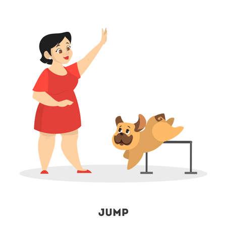 Woman training her pet dog. Jump command