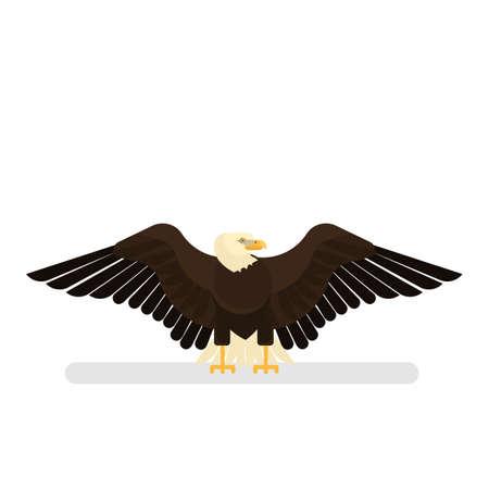 Carattere dell'aquila. Uccello bianco e nero. americano Vettoriali