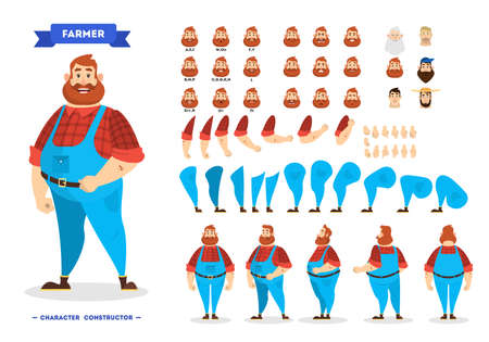 Male farmer character set for the animation Ilustração