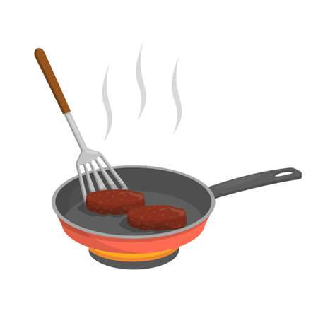 Cooking cutlet or burger patty in frying pan. Delicious dinner or breakfast. Meat ingredient. Making grilled meat. Isolated vector illustration in cartoon style Çizim