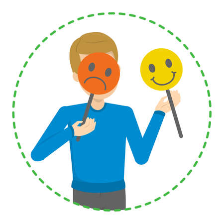 Man hiding his face behind mood mask. Sad and happy mask. Hiding real emotion and pretend. Psychology concept. Vector illustration in cartoon style