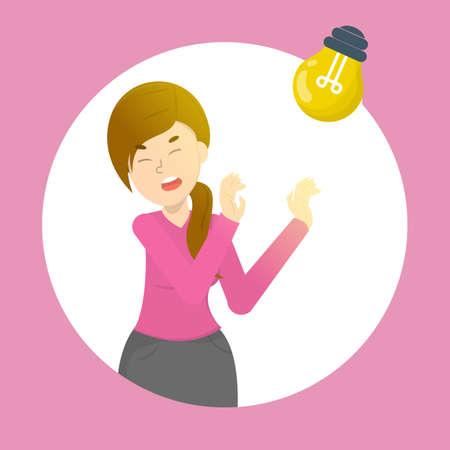 Femme avec photophobie. Migraine et sensibilité à la lumière. Problème de santé. Illustration vectorielle isolée en style cartoon
