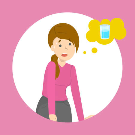 Müde Frau denkt an ein Glas frisches Wasser. Durst-Konzept. Durstiges Mädchen. Isolierte Vektorillustration im Cartoon-Stil