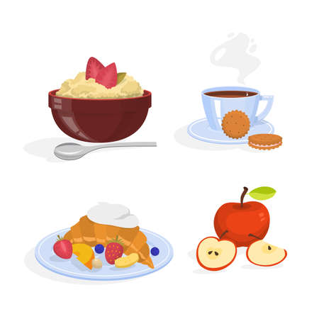 Breakfast set. Collection of healthy meal. Cereal, croissant and coffee. Traditional breakfast. Isolated vector illustration in cartoon style