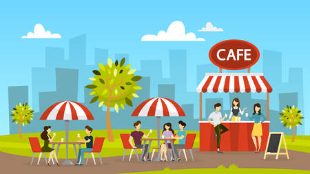 Street cafe. People sit at the table and drink coffee. Outdoor cafeteria. City landscape on background. Cafe in the park. Vector illustration in cartoon style Ilustração